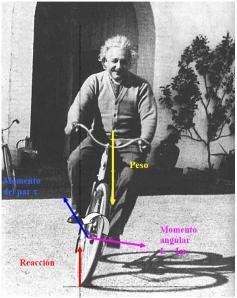 Fuerzas sobre la bicicleta de Einstein